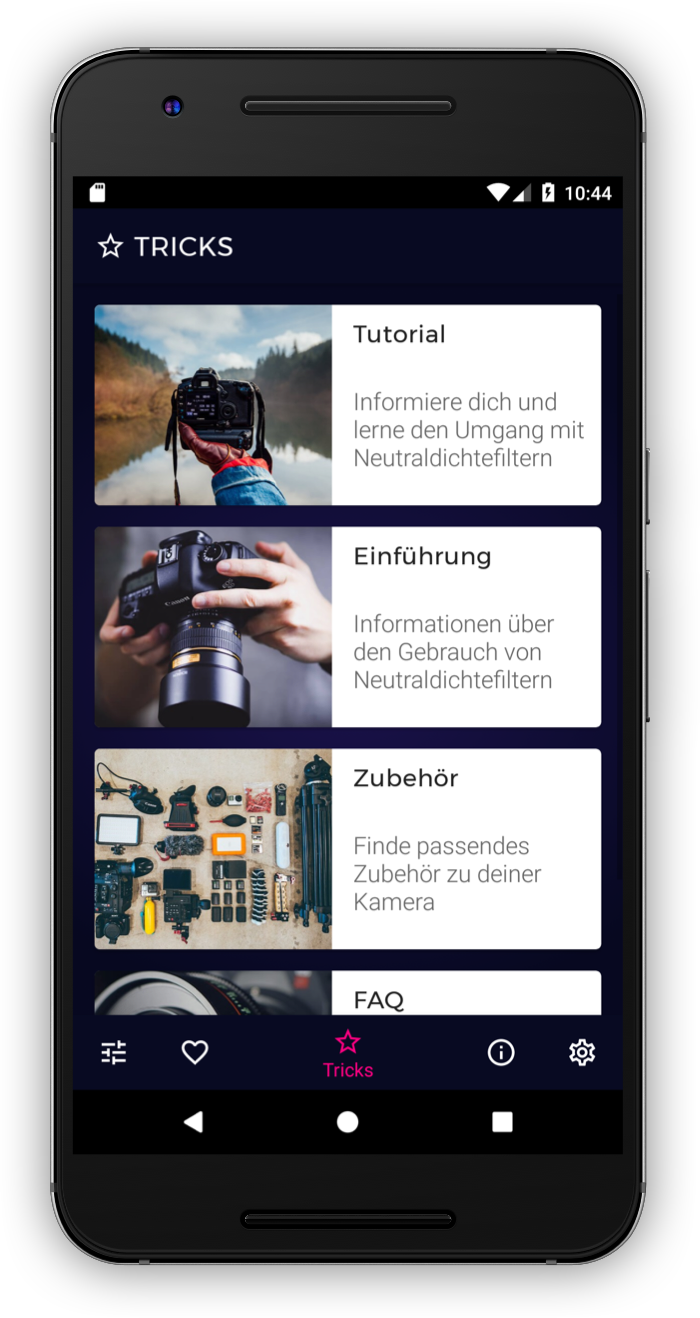 Tipps und Tricks in der ND-Filter App